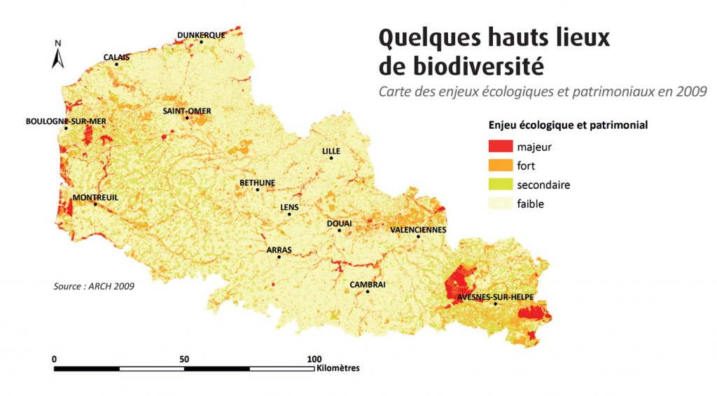 """Carte illustrant quelques hauts lieux de biodiversité, extraite de la publication """"Comment se porte la nature dans la Nord Pas-de-Calais ?"""" réalisée par l'Observatoire de la biodiversité du Nord Pas-de-Calais (2015)"""