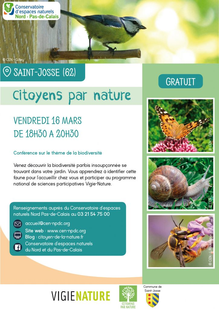 """Animation """"Citoyens par nature"""" : conférence sur la biodiversité le 16/03/2018"""