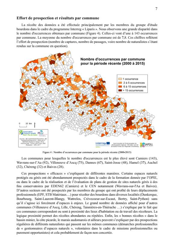 Atlas préliminaire des bourdons du Nord et du Pas-de-Calais : effort de prospection